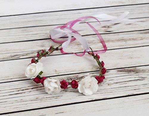 Handcrafted Hot Pink and White Flower Crown - Birthday Hair Accessory - Wedding Hair Wreath - Renaissance Flower Crown - Toddler Flower Halo