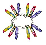 Super Value Best Buy Quality One Dozen Set of 12 Keychain retty Floral Flower Utility Knives for Women {jg} Great Gift for Grandma, Sister, Cousin, Friend, Gay, LGBTQ.