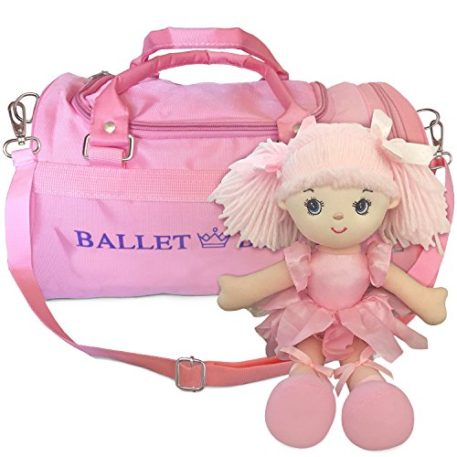 Ballet Belle Girls Ballet Duffle Bag with Ballerina Doll - Zippered Duffle Dance Bag with Separate Shoe Side Compartment - Waterproof, Adjustable Dance Bag - Perfect Gift Idea - Portable Dance Costumes Organizer