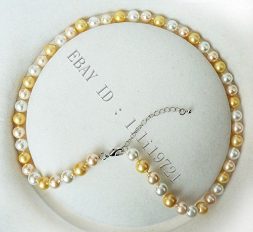 """8mm gold south sea shell pearl necklace 18/"""" AAA"""