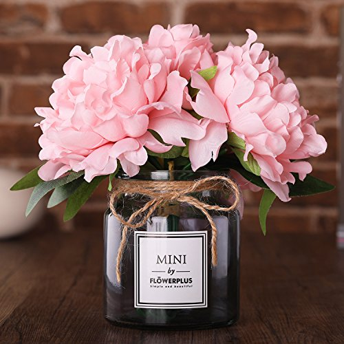 Alitercy Artificial Flowers with Vase,Flower Arrangements,Silk Peony with