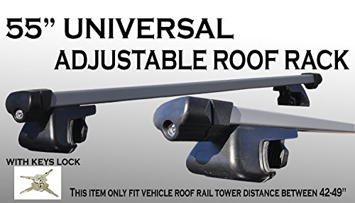 Nissan Murano Roof Rails (JDM Style Set 55 inch 135cm Aluminum roof rack top rail cross bars cargo Luggage w/ keys locks [Measure Before Purchase])