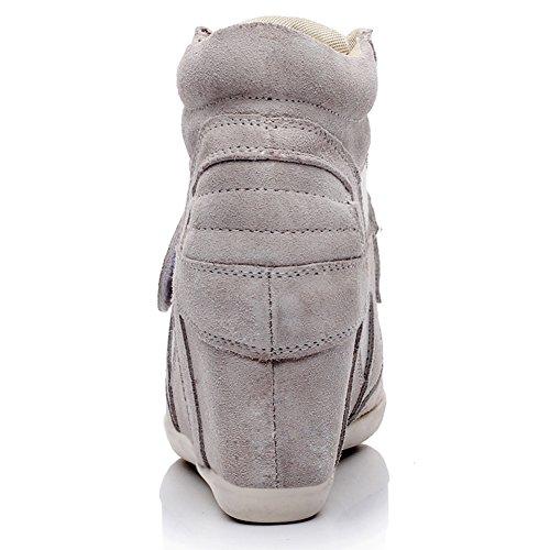 Rismart Zapatos Ligeros Con Cordones Para Mujer Zapatos Cuña Con Cordones Gris 8522 Us8