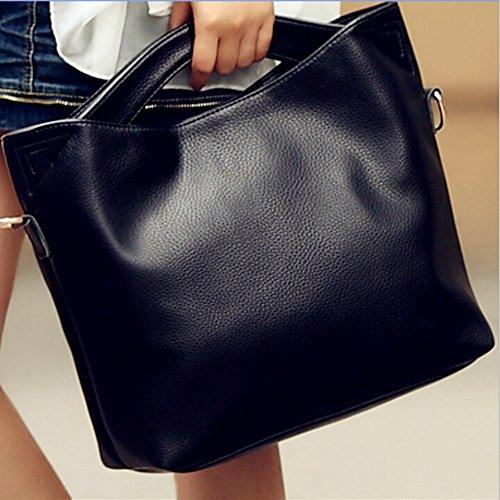 BYD - Mujeres Carteras de mano Color puro Alta calidad PU cuero Mutil Function Fashion School Bag Work Office Bag Bolsos totes Casual Style Negro