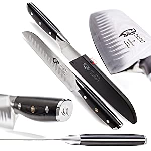 Orient Santoku Knife 7 inch Japanese Steel Damascus Blade VG10 67 Layer Professional Chef's Knives With Gift Box and Sheath, Ultra Sharp, Best Kitchen Steel Knife, Sashimi, Gyoto