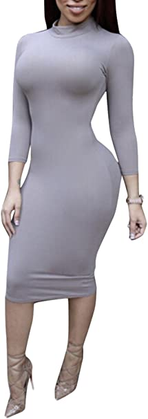 Womens Turtleneck Long Sleeve Bodycon Midi Sheath Dress