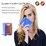 Leather Credit Card Wallet With Zipper Travel Wallet Credit Card Holder, Cute Wallets For Girls Women (blue)