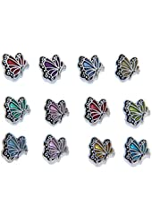 Bundle of Butterfly Birthmonth Charms for Floating Lockets, Silvertone