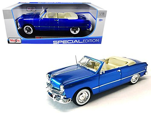 1949 Ford Convertible (1949 Ford Convertible Metallic Blue 1/18 Special Edition Diecast Model Car by Maisto 31682METBL)