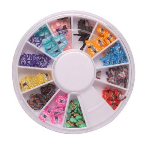 350buy 144 Pcs 12 Color 3D Butterfly Shaped Nail Art Fimo Slice Slices Decal Pieces Decoration w/ Wheel Jubujub
