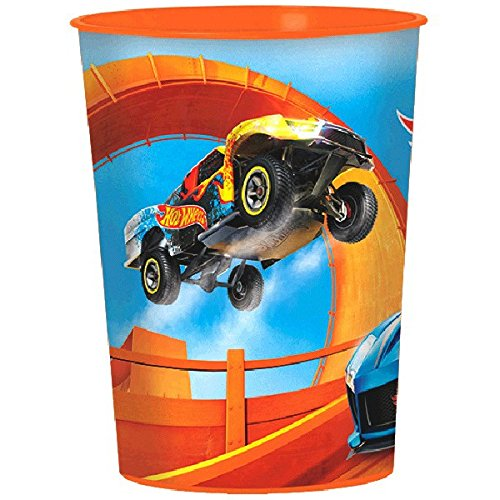 Fast Riding Hot Wheels Wild Racer Birthday Party Favor Cup, Multi Colored, Plastic, 16 Ounces, -Piece