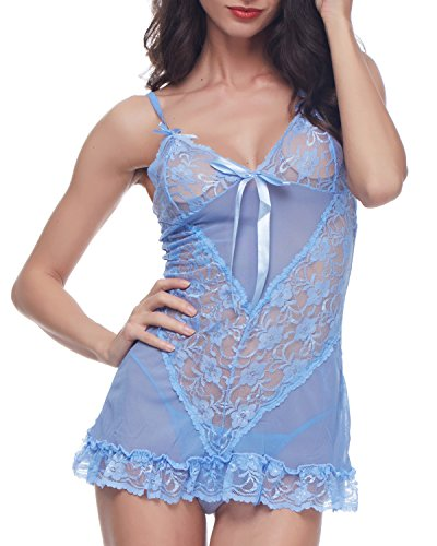 BELLEZIVA Babydoll Lingerie For Women Lace Chemise Dress Bow Dec Sleepwear Dress Chemise