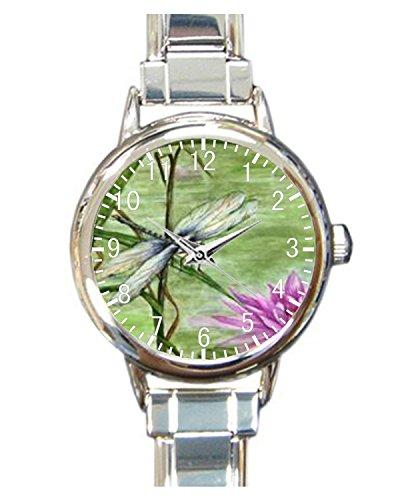 Lotus And Dragonfly Custom Womens Round Charm bracelet Wrist Watch