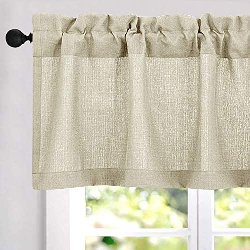 Amazon Com 18 Inch Valances For Windows Privacy Casual Weave Semi Sheer Kitchen Curtain Valance 54 X Beige 1 Panel Dining