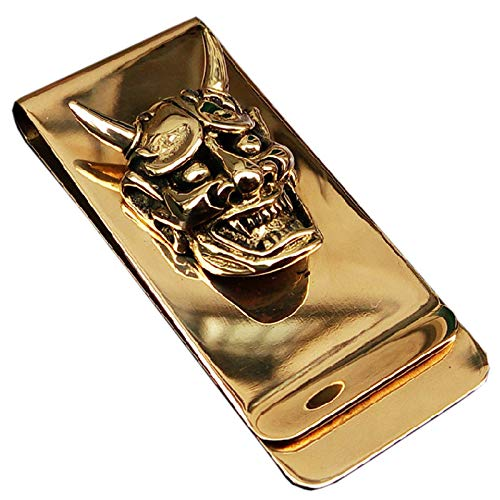 Accessories Money Clip Wallet - Yuri Brass Skull Hannya Pendant Slim Cash Money Clip Wallet Credit Card Holder Accessory Handwork Mens Gift