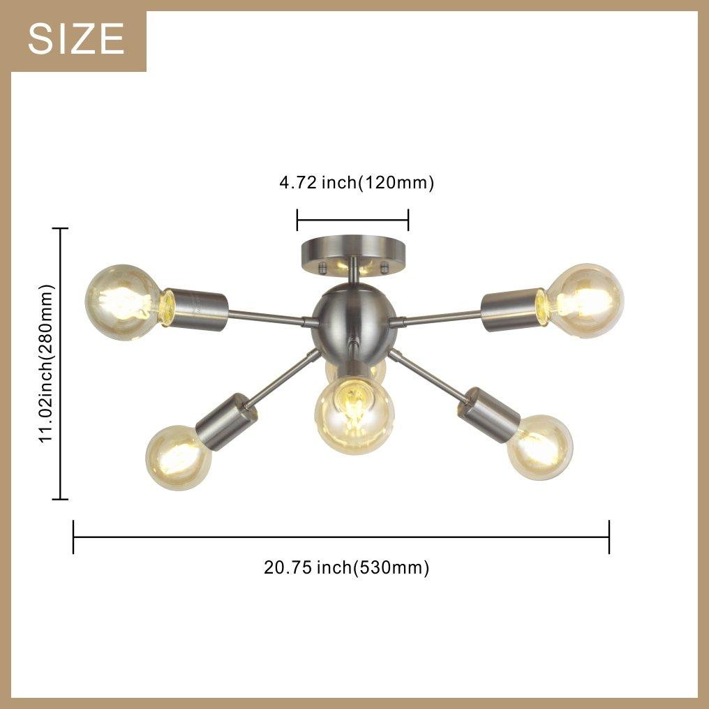 Amazon Com 6 Light Sputnik Ceiling Light Brushed Nickel Modern
