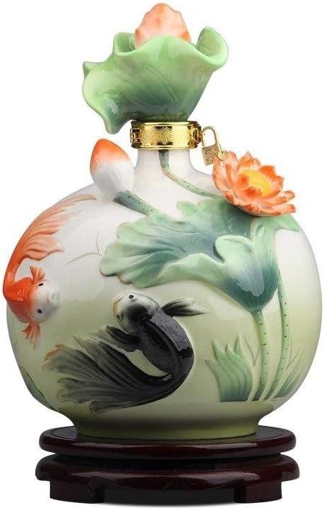LI FANG 景徳鎮セラミックワインボトル、エナメル装飾、シーリング水差し