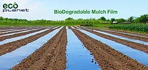 EcoPlanet Bio-degradable Agricultural Plasticulture Black Plastic Mulch Film Gardening Farming Film Weed Barrier (Type A) (1 Mil, 3 feet x 50 feet)