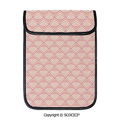 SCOCICI Tablet Sleeve Bag Case,Dragon Fish Scales Japanese Style Ocean Waves Circle Pattern Tile Decorative,Pouch Cover Cases for iPad Pro 12.9 in and Any Tablet