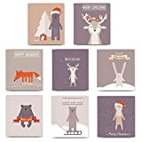 24 Pack Christmas Greeting Cards, 8 Assorted Cute Woodland Animal Designs Envelopes Included, Holiday Wishes for Family, Friends & Coworkers, Mixed Variety Boxed Cards, Excellent Value by Digibuddha
