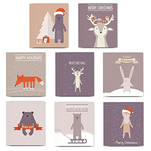 48 Holiday Christmas Greeting Cards, 8 Assorted Delightful Animal Critter Designs, Envelopes Included, Warm Seasonal Wishes to Family & Friends, Mixed Assortment Boxed Cards, Great Value by Digibuddha -