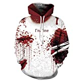 SAINDERMIRA Unisex Fashion 3D Digital Galaxy Pullover Hooded Hoodie Sweatshirt Athletic Casual with Pockets (Halloween Bloody, Large/X-Large)