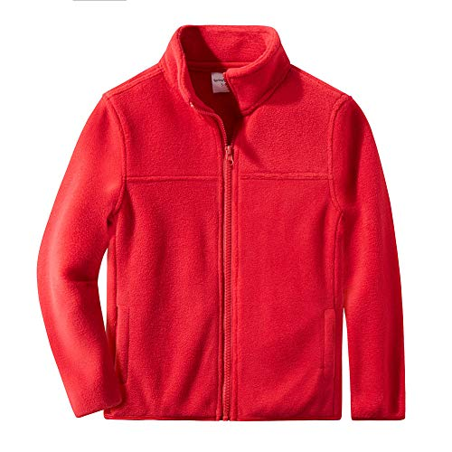 (Spring&Gege Youth Solid Full-Zip Polar Fleece Jacket for Boys and Girls Size 5-6 Years Red)