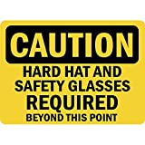 Caution Hard Hat And Safety Glasses Required Osha Metal Aluminum Sign 24 in x 18 in