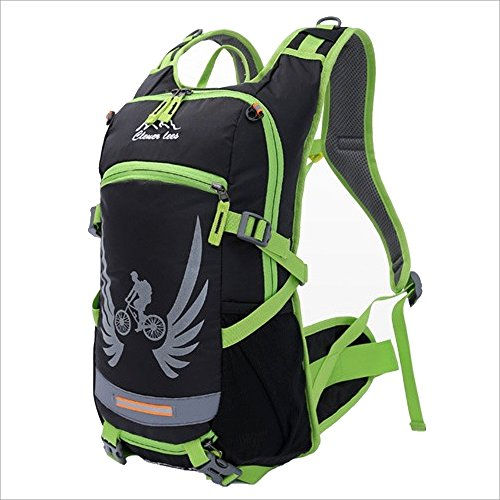 Tuvana Cycling Backpack Riding Hydration Backpack Bike Rucksack Outdoor Sports Daypack for Biking Running Hiking Camping Travelling Night Reflector with Helmet Net Ultralight Men Women 18L (Green)