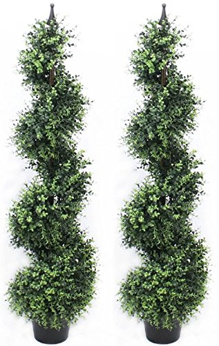 4 Foot Eucalyptus Spiral Artificial Tree Realistic Premium Quality Pre Potted Home Office Decor Indoor and Outdoor (2 Pack) by Silk Road Home