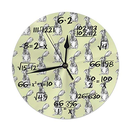 TMVFPYR Pencil Rabbits On Light Green Wall Clock Silent & Non-Ticking Math Equation Quiet Desk Clock for Home Office School ()