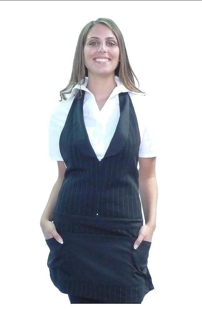 tessile astorino davantino grembiule donna per camerieri, baristi, pub, bar, ristoranti, Made in Italy (nero gessato)