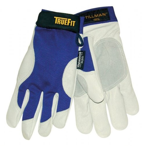 Pigskin Grain - John Tillman TIL1485L Large Blue/Gray True Fit Top Grain Pigskin/Nylon Thinsulate Lined Cold Weather Gloves