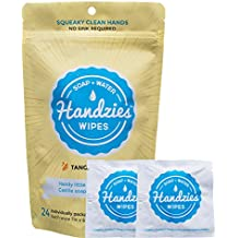 Handzies: Natural Soap and Water Hand Wipes, Individually Packaged, Free of Alcohol, Triclosan and Benzalkonium Chloride, Made with Pure Castile Soap and Essential Oils (24)