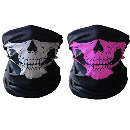 GAMPRO Breathable Seamless Tube Skull Face Mask, Dust-proof Windproof Motorcycle Bicycle Bike Face Mask for Cycling, Hiking, Camping, Climbing, Fishing, Hunting, Motorcycling (Black&Pink) (Motorcycle Gear For Women compare prices)