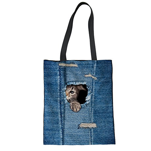 Hand Animal cat Bag Women Denim Shoulder Linen Girls 2 Blue Bag Showudesigns Tote EUXqBA