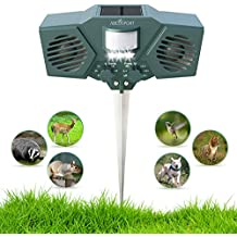 Ultrasonic Solar Animal & Pest Repeller - With 30' Motion Sensor, Flashing LED Light - Pest Control For Raccoon, Cats, Dogs, Deer, Birds - Weather Proof Design - Includes 3 Batteries & USB Cable