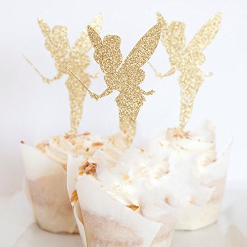24pcs Gold Glitter Pretty Ballet Dancer Fairy Peri Cupcake Toppers Baby Girls Children Kids Toddlers Teens Picnic Birthday Bridal Shower Baby Shower Wedding Favors