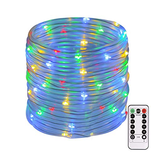 ECOWHO Rope Lights Battery Operated String Lights, Waterproof Rope String Lights 46ft 120 LEDs Starry Fairy Lights Dorm Lights with Remote for Patio, Bedroom, Garden, Room, Trees (Multicolor) from ECOWHO