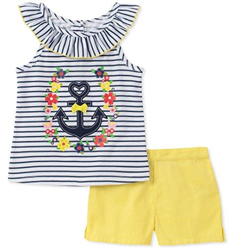 - Kids Headquarters Girls' Toddler 2 Pieces Shorts Set, Blue/Yellow, 3T