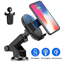 Wireless Car Charger, JoyGeek Fast Wierless Charger Automatic Induction Car Mount Air Vent Phone Holder, Qi Wireless fast Charging for Samsung s9/ s8/ s8 Plus/ S7/ S6 Edge+ Standard Charger for iPhone 8/ 8 Plus/ X