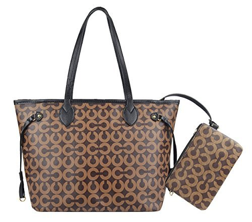 983624bc284a Womens Stylish All-over Signature Pu Leather Top Handle Handbags with  Zipper Wallet (Coffe