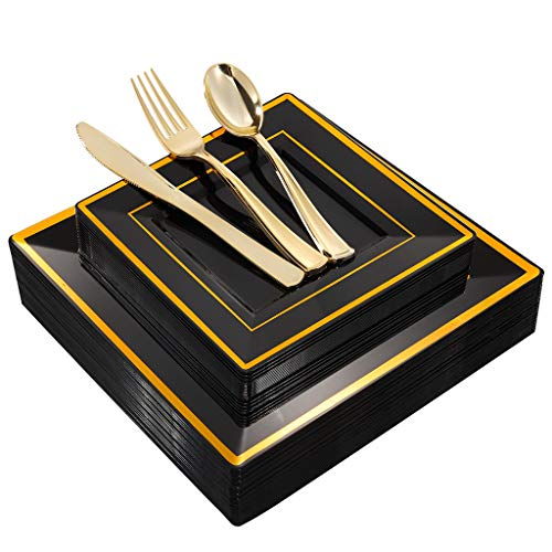 WDF 125Pieces Black Square Plastic Plates with Gold Rim &Gold Disposable Cutlery/Silverware- Plastic Dinnerware include 25&9.5inch Dinner Plates,25&7inch Dessert Plates,25 Forks, 25 Knives, 25 Spoons
