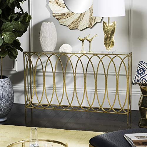 Safavieh FOX3256A Home Collection Carina Gold Oval Ringed Console Table,