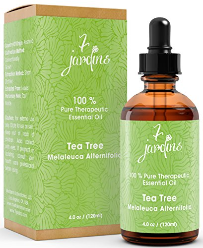 Price comparison product image Premium Tea Tree (Australian) 100% Pure & Natural Therapeutic Grade Essential Oil. 120 ml Melaleuca - Anti Viral & Anti Bacterial - Effective Against Cuts,  Dandruff and Acne - By 7 Jardins