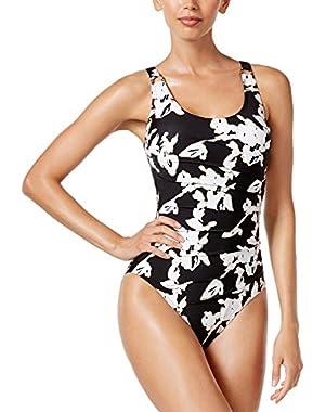 Womens Black Viper Starburst One-Piece Swimsuit