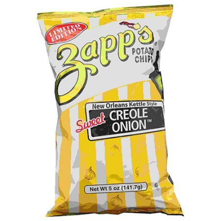 Zapp's Kettle Chips Bag, Creole Onion Potato Chips, 5 oz, 12 Count
