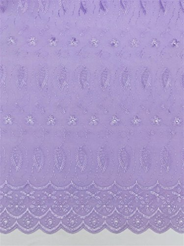 Daisy & Leaf Embroidery Eyelet Fabric by The Yard (Lavender)