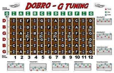 Dobro Fretboard Chart Resonator Guitar Poster - G Tuning