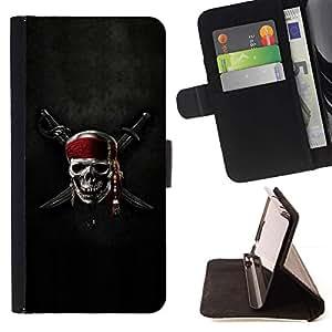 For Samsung Galaxy Note 4 IV Case , Cresta del cráneo del pirata y de la espada- la tarjeta de Crédito Slots PU Funda de cuero Monedero caso cubierta de piel